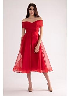 Belamore  Kırmızı Kayık Yaka Abiye&Mezuniyet Elbisesi 9704811.08